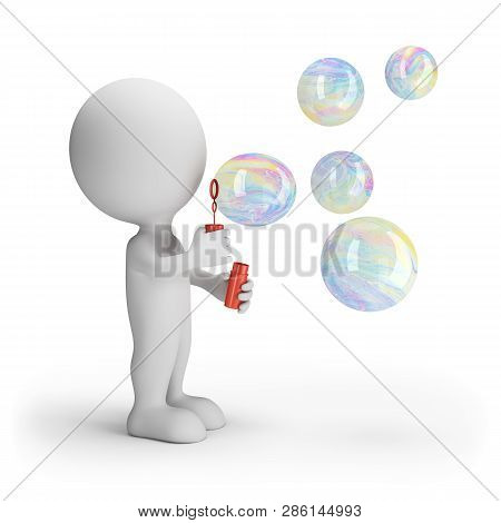 3d Man Blows Big Soap Bubbles. 3d Image. White Background.