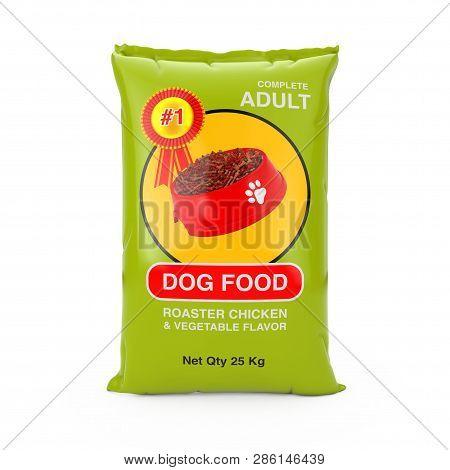 Dog Food Bag Package Design On A White Background. 3d Rendering