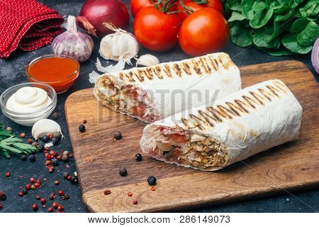 Doner Kebab (shawarma Or Doner Wrap). Grilled Chicken On Lavash (pita Bread) With Fresh Vegetables -