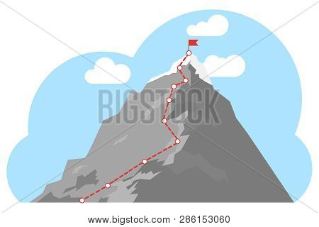 Mountain Climbing Route To Peak. Top Of The Mountain With Red Flag. Business Success Concept. Busine