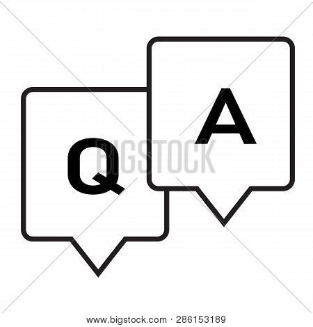 Question And Answer Glyph Icon On White Background. Flat Style. Question Answer Icon For Your Web Si