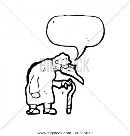 old man with walking stick cartoon