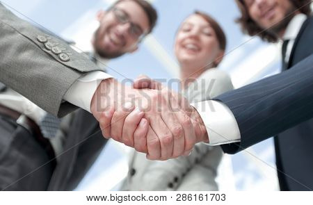 business handshake.the concept of partnership