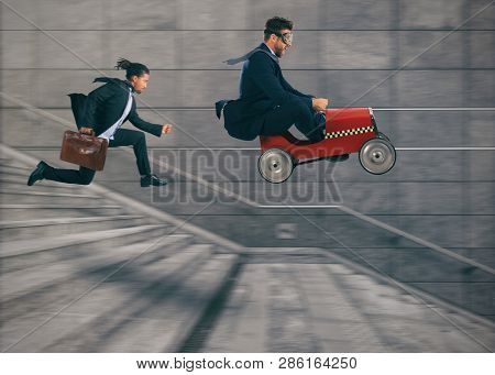Reckless Business Man Races With A Car To Win A Competition Against The Competitors. Concept Of Succ