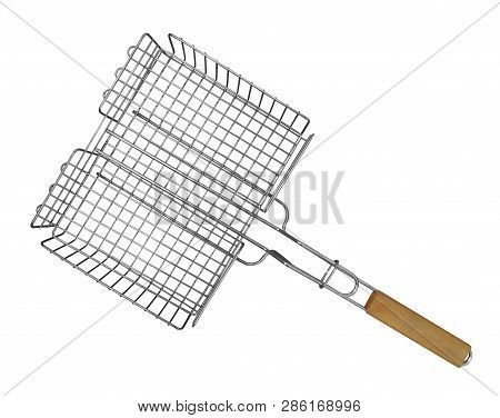 Stainless Barbecue Grill Isolated On White Background. Clipping Path Included.