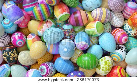 Many colorful Easter eggs as a background header for Easter (3d rendering)