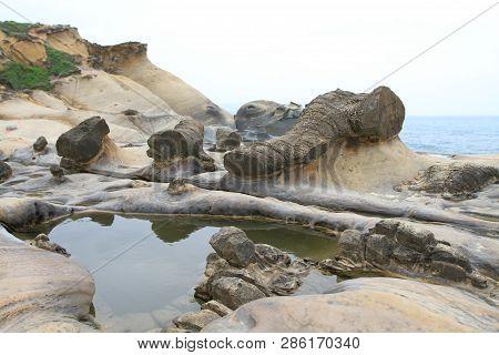 Mushroom Rocks At The Yehliu Geopark In Taiwan