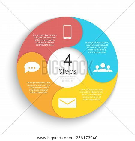 Vector Circle Chart Infographic Template For Cycle Diagram, Graph, Web Design. Business Concept With