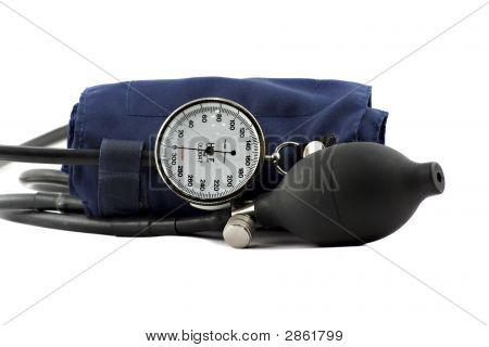 Device Used To Check The Blood-Pressure Isolated On White