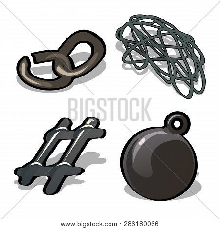 A Set Of Metal Products Isolated On White Background. A Broken Chain, Steel Wire, Fragment Of The La