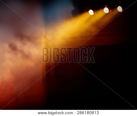 Theatrical Spotlights Illuminate The Stage During The Performance. Banner For Design.