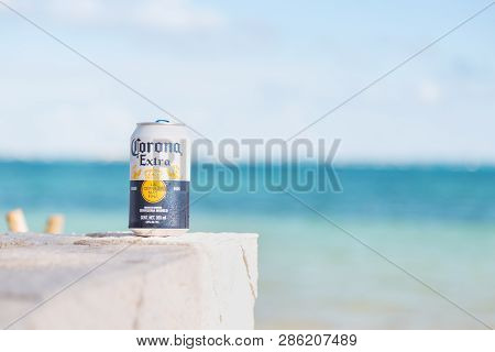 Cancun, Qr, Mexico - Feb 4, 2019: Close-up Of Can Of Traditional Mexican Corona Beer With A White Sa