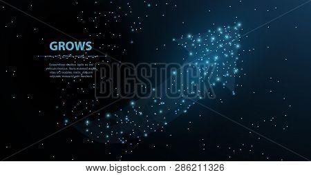 Arrow Growth. Polygonal Mesh Art Looks Like Constellation. Concept Illustration Or Background