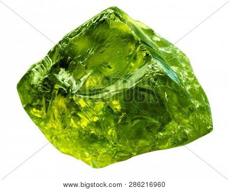 Emerald gem stone mineral. Green gemstone of precious rock isolated on white background. Transparent shiny raw brilliant gem