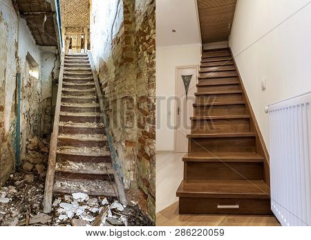 Comparison Of Modern Brown Wooden Staircase In New Renovated Apartment Interior And Old Ladder Stair