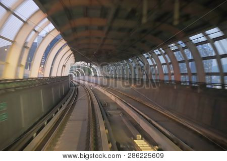 Train Moving  Rail Tunnel With Moderate Motion Blur