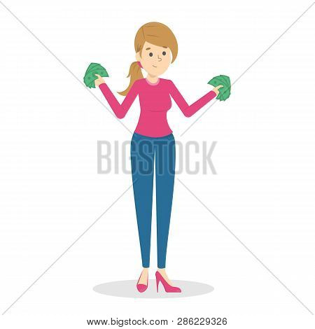 Woman With Money. Happy Successfull Lady Hoding Money
