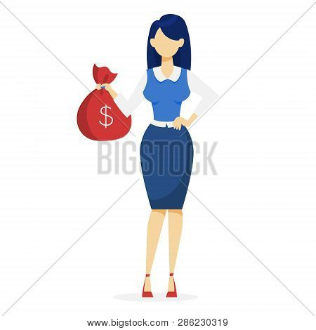 Happy Successfull Woman Standing With Bag Full Of Money