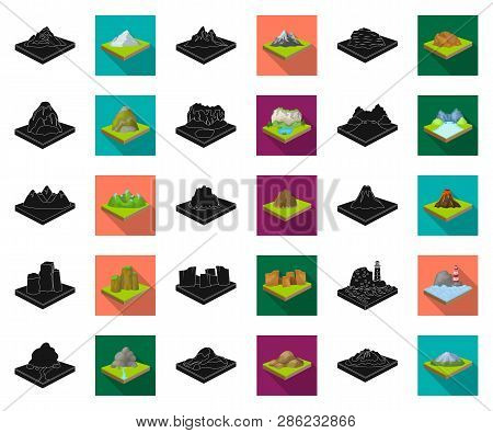 Mountains, Massive Black, Flat Icons In Set Collection For Design. The Surface Of The Earth Vector I