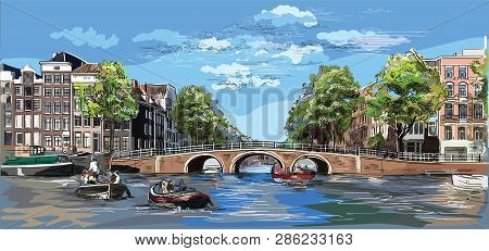 Cityscape With Bridge Over The Canals Of Amsterdam, Netherlands. Landmark Of Netherlands. Colorful V