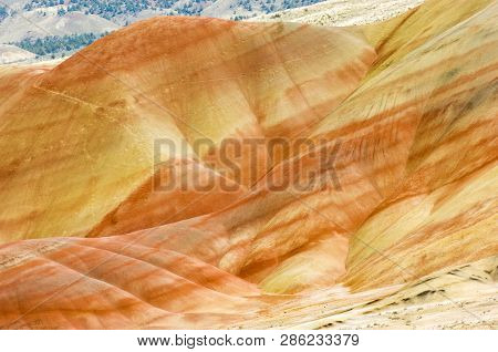 Multicolored Strata In Painted Hills Unit Of John Day National Monument, Oregon, Usa