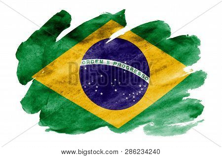 Brazil Flag  Is Depicted In Liquid Watercolor Style Isolated On White Background
