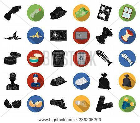 Garbage And Waste Black, Flat Icons In Set Collection For Design. Cleaning Garbage Vector Symbol Sto