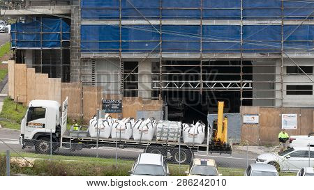 Gosford, New South Wales, Australia - November 29, 2018: Materials Delivery To Construction And Buil