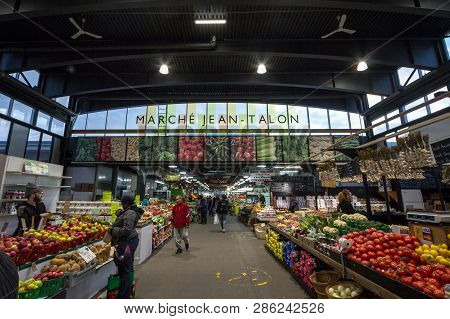 Montreal, Canada - November 6, 2018: Main Alley Of Marche Jean Talon Market With Merchants Selling F