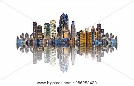 Futuristic Modern Buildings With Reflection, Isolated On White Background