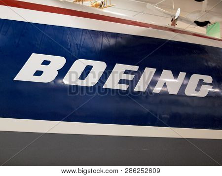 San Carlos, California - October 13, 2010: Boeing Logo On Side Of Plane On Display At The Hiller Ava
