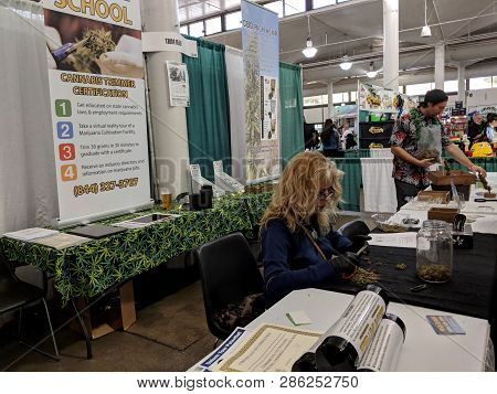 Honolulu - February 10, 2018: Cannabis Trimmer Certification Booth At The 3rd Annual Hawaii Cannabis