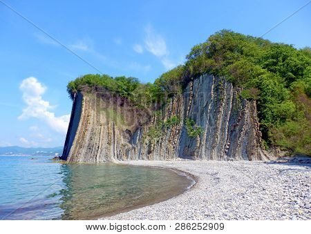 Kiselev Cliff Also Known As Cliff Of Tears, Tuapse, The Black Sea, Russia. The Cliff Towers 46 Meter