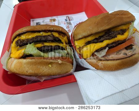 Thousand Palms, California - October 28, 2018: Two Double-double Burgers Animal Style At In-n-out Bu