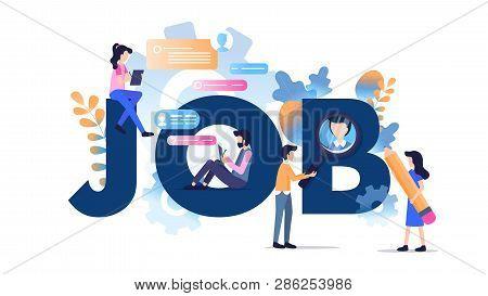 Freelance Character Modern Job Typography Banner. Online Social Media Communication Work Job Search.