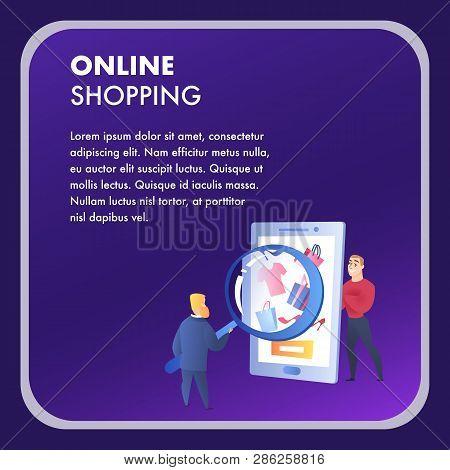 Online Shopping Website Element Vector Template. E-commerce Flat Landing Page. Internet Marketing, E