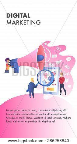 Digital Marketing Website Vector Color Template. Seo Advertising. Digital Media Landing Page. Televi
