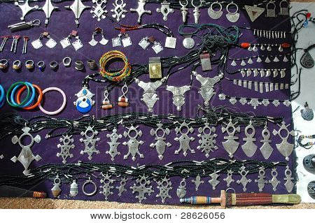 An assortment of Tuareg jewellery for sale in Niger poster