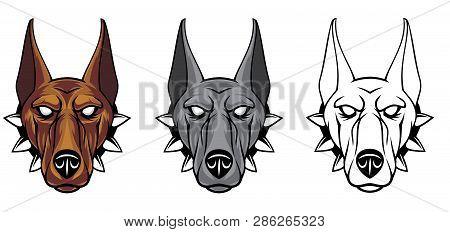 Doberman Head Set. Vector Illustration For Use As Print, Poster, Sticker, Logo, Tattoo, Emblem And O