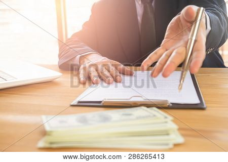 Business Man Deal A Contract And On Business Office. Owns The Business Sign Personally, Director Of