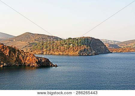 View Of The Island Of Patmos, Greece In The Aegean Sea Where St. Paul Wrote The Book Of Revelation I