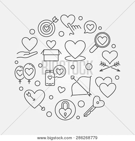 Unconditional Love Vector Round Minimal Illustration In Thin Line Style