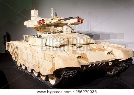 Nizhniy Tagil, Russia - September 27. 2013: Tank Support Fighting Vehicle Bmpt-72 Terminator-2 In Cl