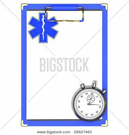 Blue medical clipboard and stopwatch