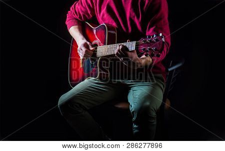 Guitar Acoustic. Play The Guitar. Live Music. Music Festival. Instrument On Stage And Band. Music Co