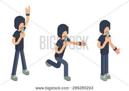 Popular Modern Singer Performer Soloist Isometric 3d Icon Sing Song Microphone Hard Rock Heavy Folk