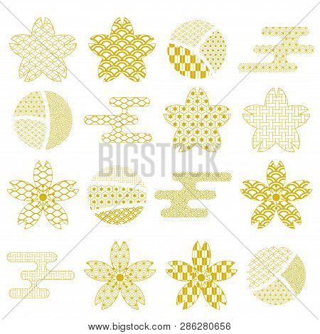 Japanese Gold Sakura And Cloud Icons With Traditional Pattern