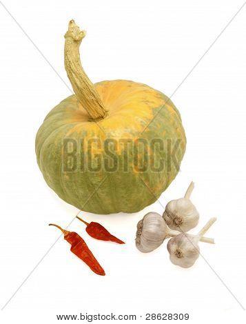 Pumpkin, Sheaf Of Garlic And Hot Red Pepper.