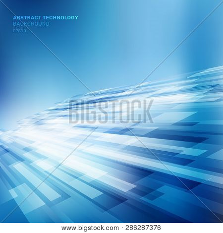 Abstract Blue Lines Overlap Layer Business Shiny Motion Perspective Background Technology Concept. V