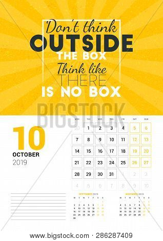 Wall Calendar Template For October 2019. Vector Design Print Template With Typographic Motivational